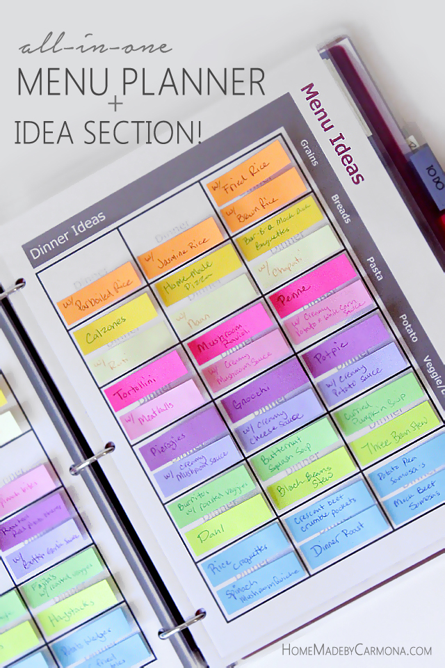 Menu planner with post-it sticky notes