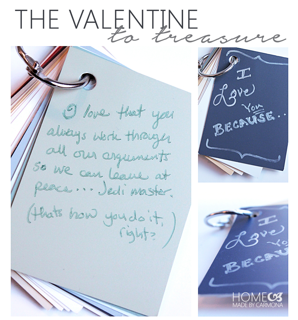 Valentine booklet made from paint swatches