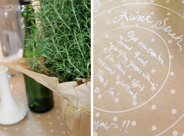 Thankfulness note placemats