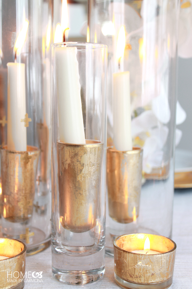 DIY glass candle holders