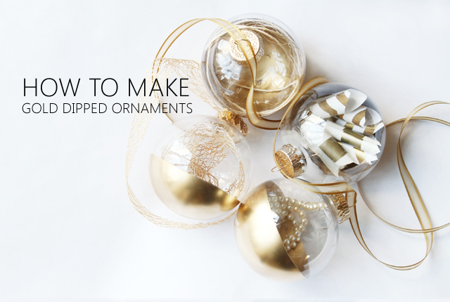 DIY gold dipped ornaments - featured image