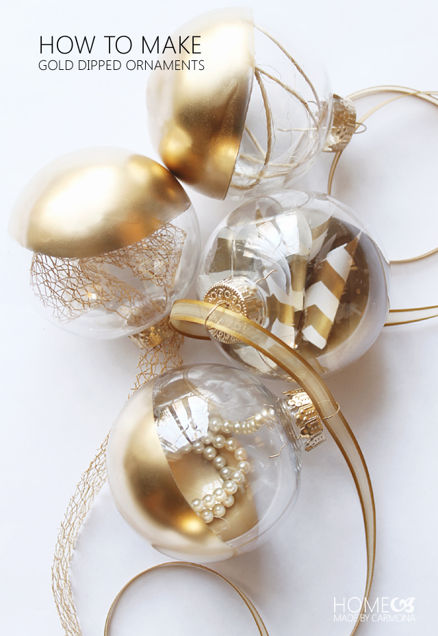 How to make gold dipped orb ornaments