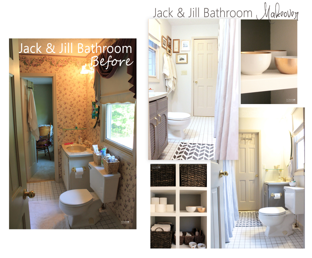 Jack & Jill bathroom before and after