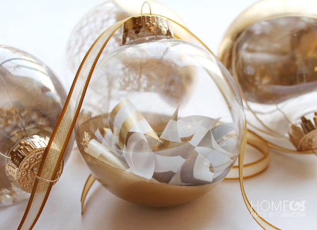 Wrapping paper filled ornament