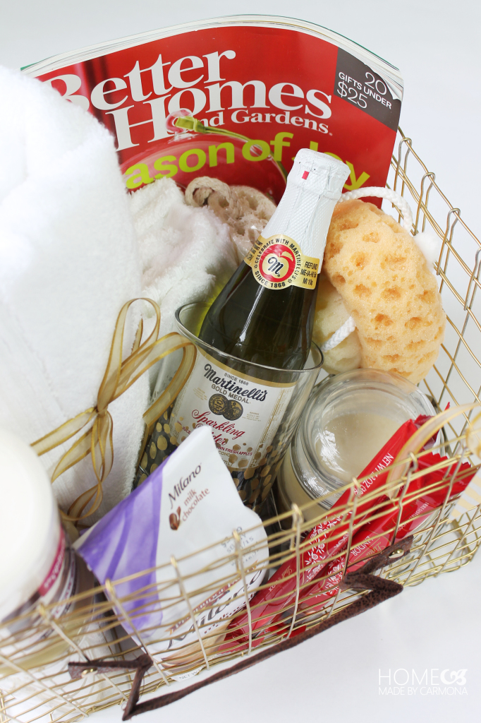 gift basket filled with spa goodies