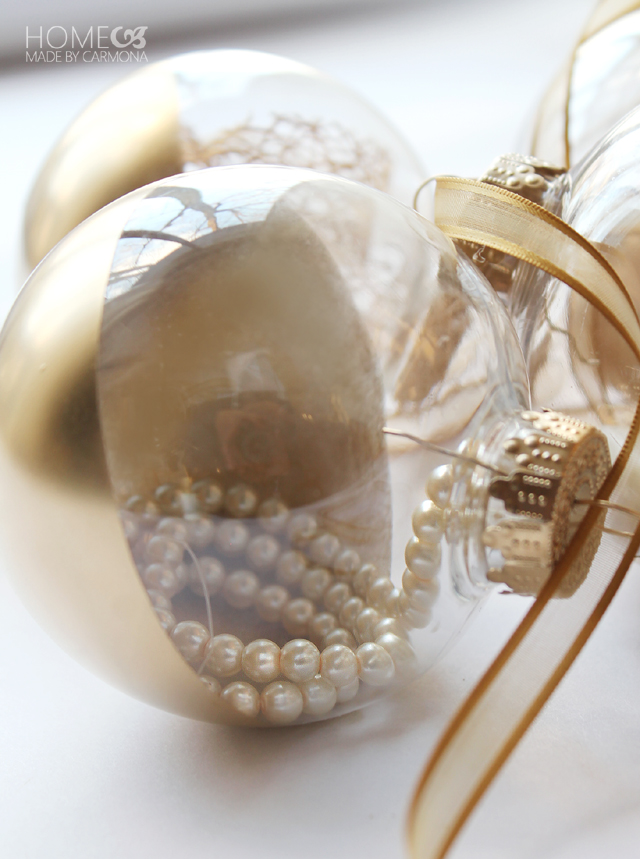 gold dipped fillable ornaments