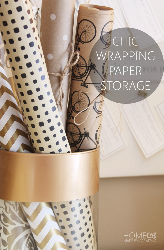 Chic wrapping paper storage