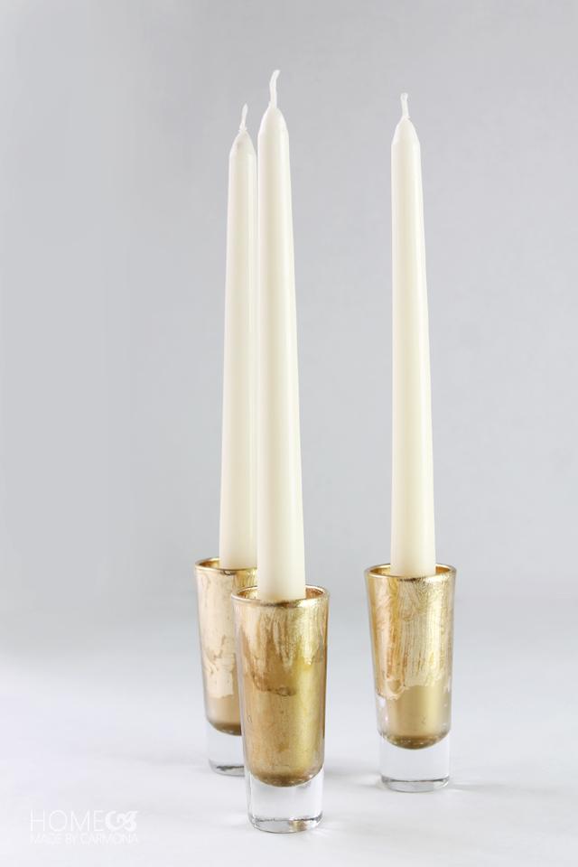 DIY gold leaf candle holder