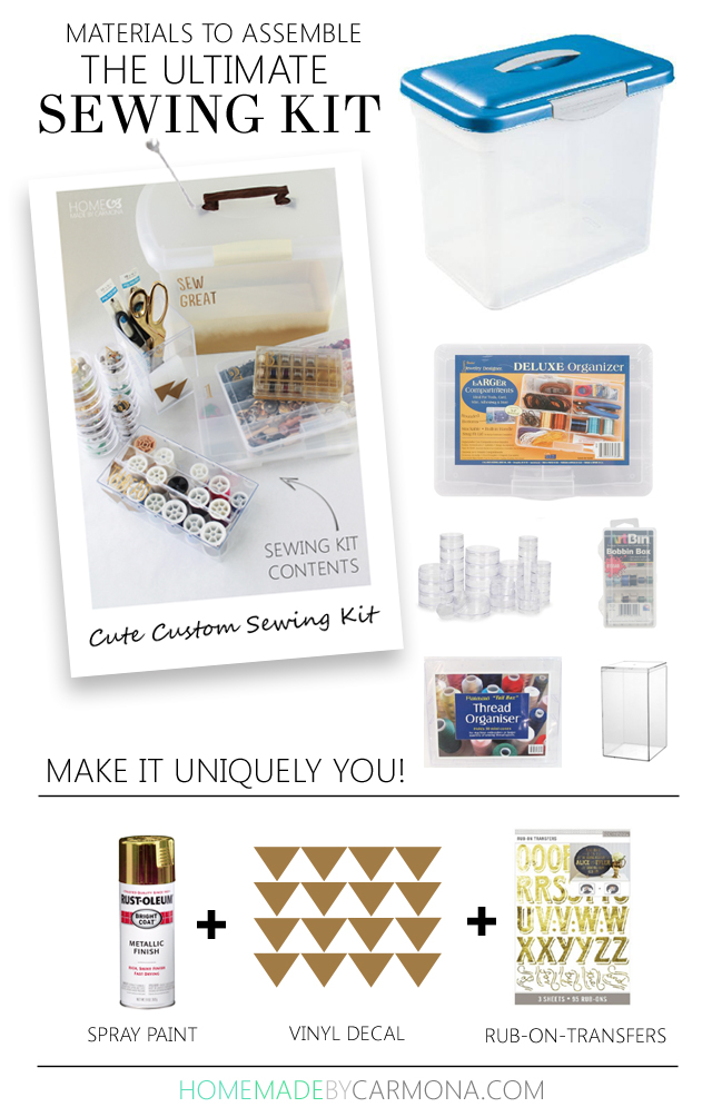 Materials to assemble the ultimate sewing kit