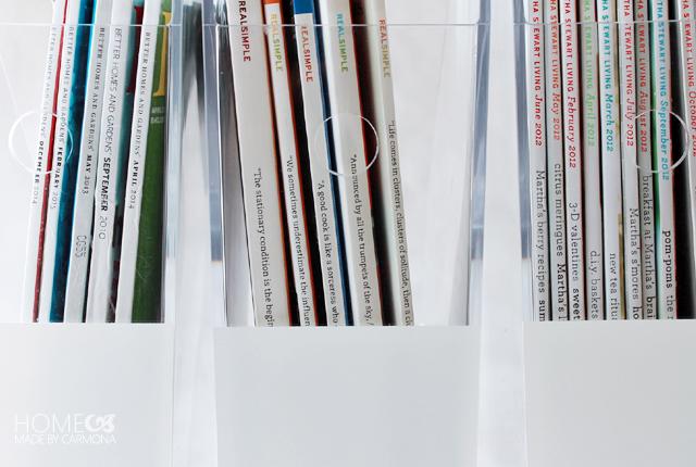 Painted acrylic magazine file holders