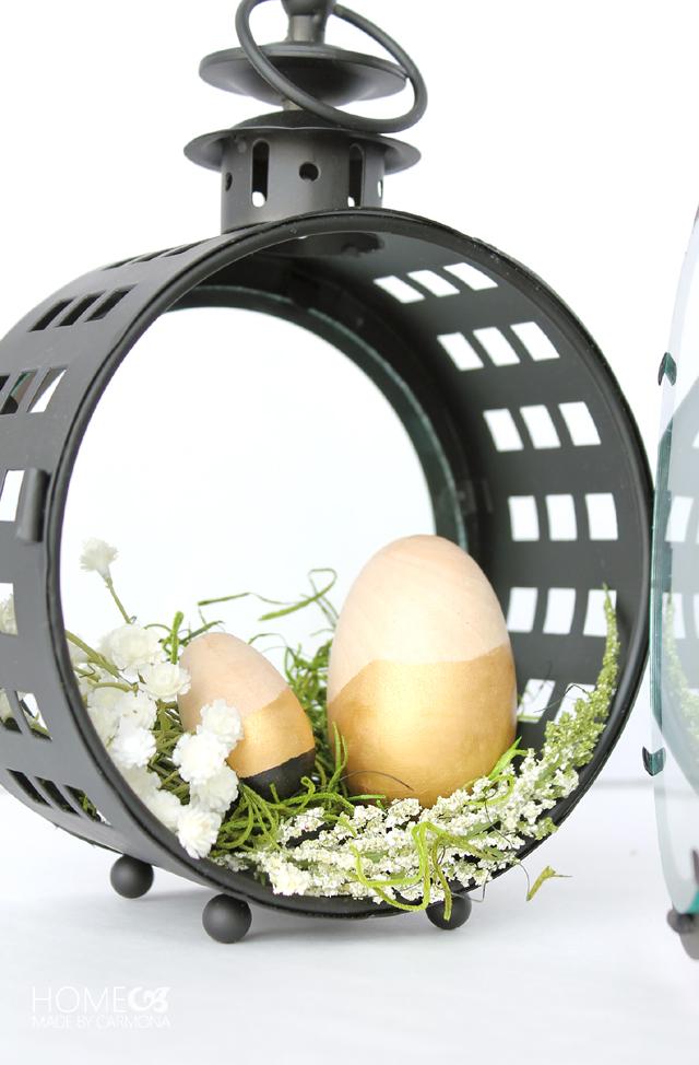 Easter Centerpiece - lantern terrarium