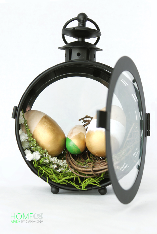 Easter Egg Display In A Lantern
