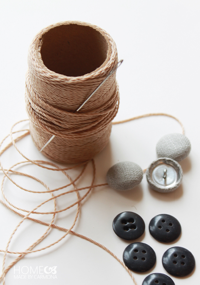 Uphostery twine and buttons