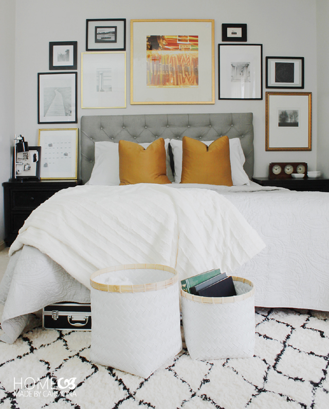 Chic bedroom gallery wall