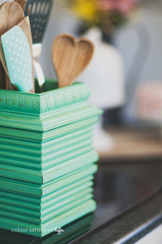 Bring a little colour to your kitchen with this DIY Utensil Holder
