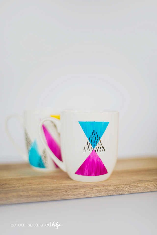 Home Made by Carmona | Get a high end look on a budget with these easy DIY painted mugs