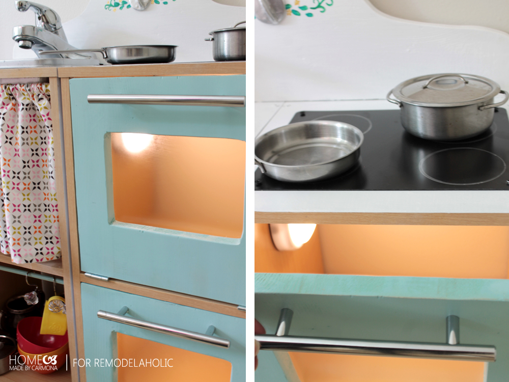 Kids play kitchen with light - HMC for Remodelaholic