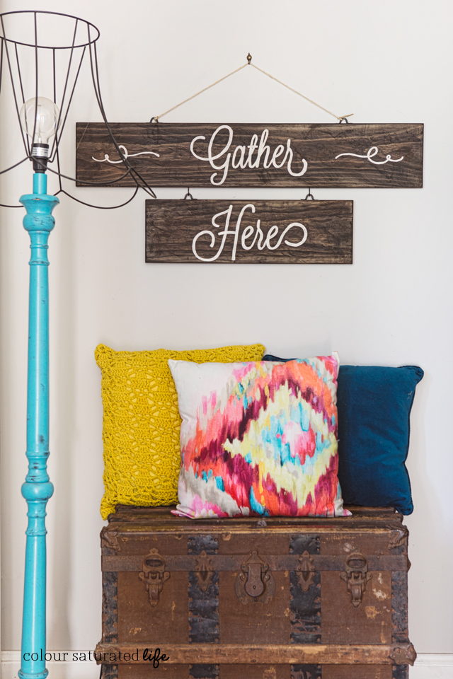 "DIY Rustic ""Gather Here"" Sign"
