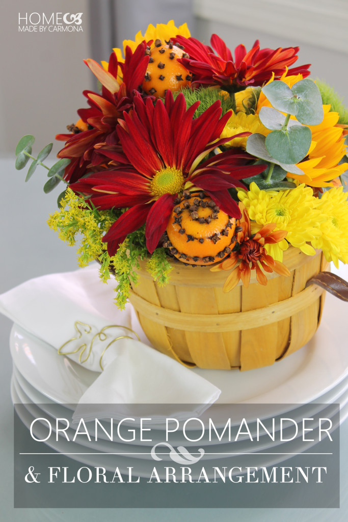 Orange Pomander & Floral Arrangement