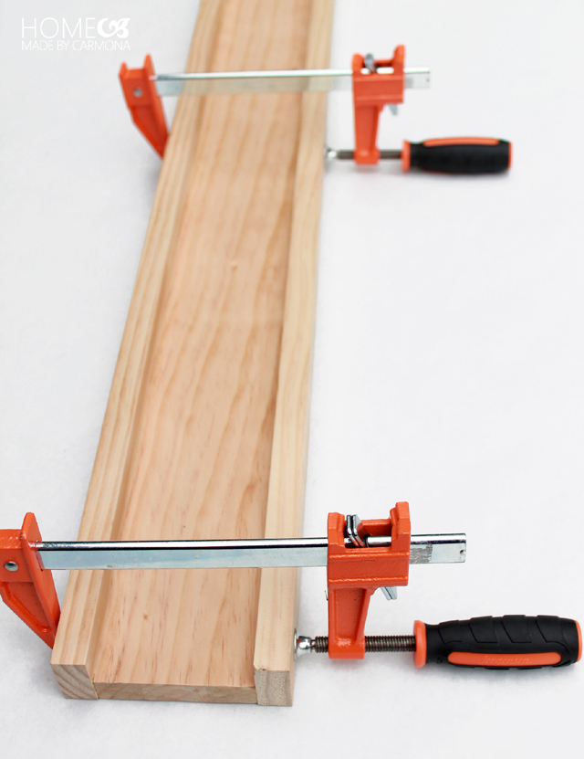 Clamp glued wood