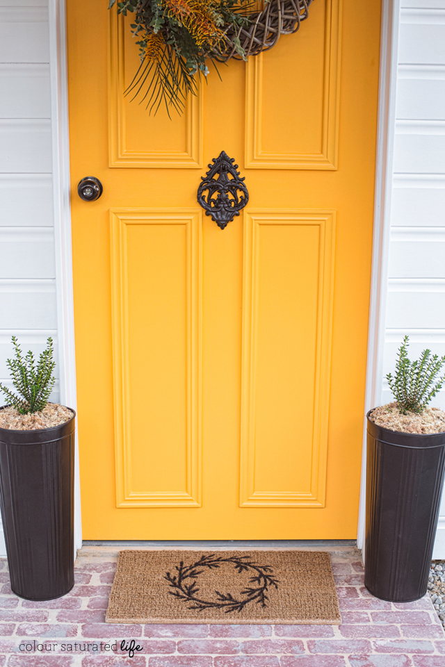 Colour Saturated Life   DIY wreath doormat for fall