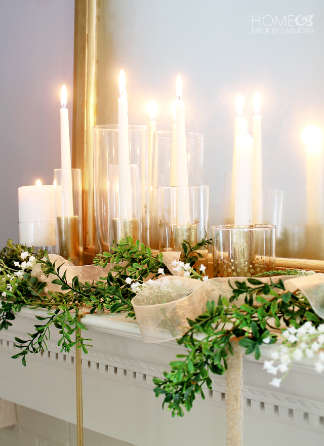 Candles on the mantel