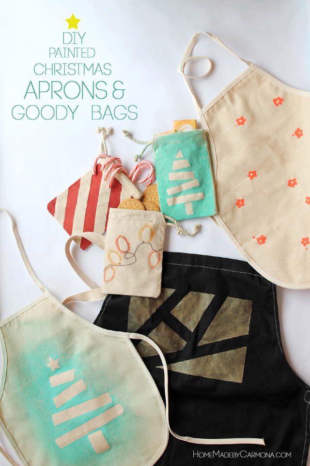 Painted Christmas Aprons and Goody Bag Tradition