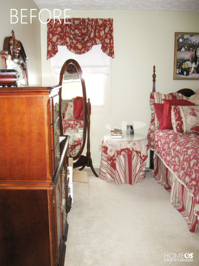 bedroom before - red everywhere 2