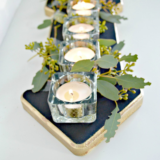 Candle wood centrepiece4 -550