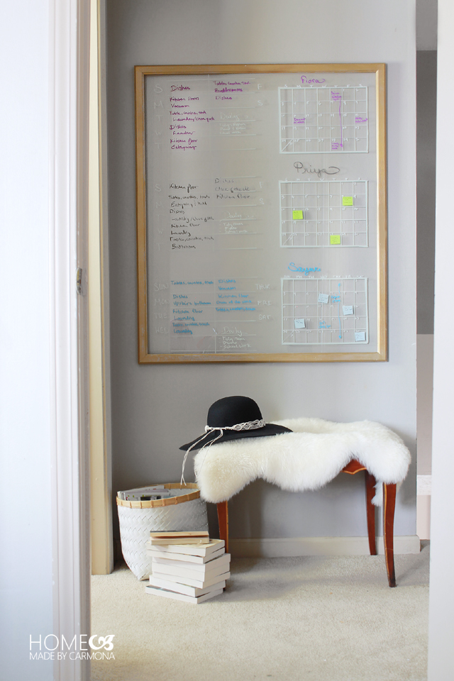 Chore board and calendar to stay organized