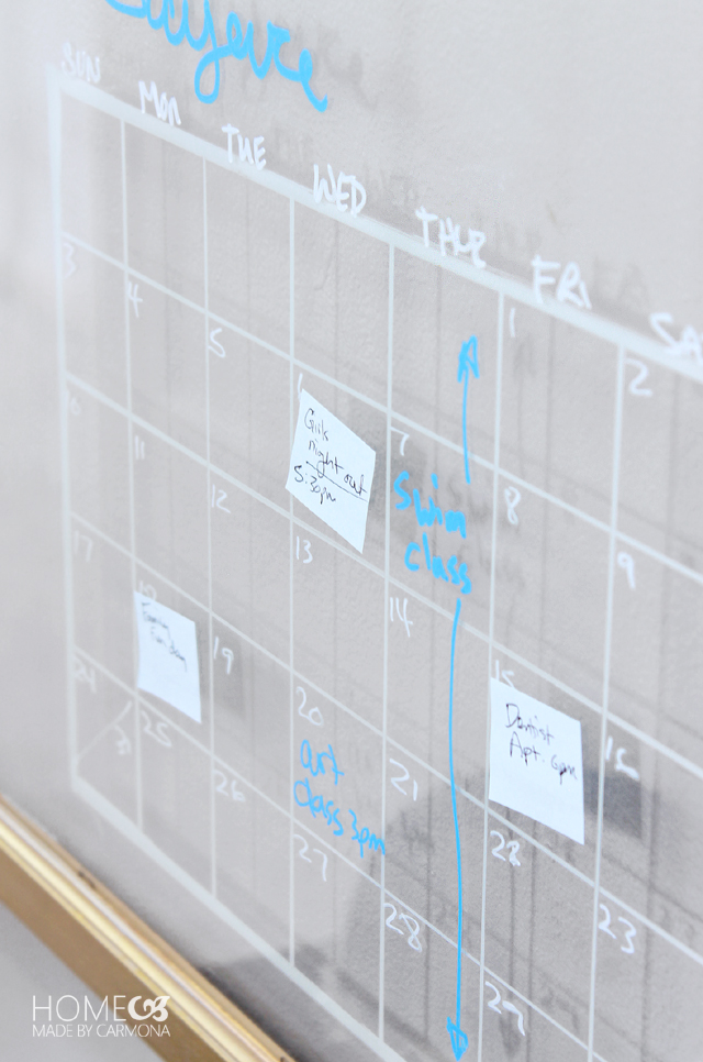 Erasable calendar