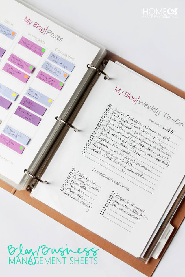 Blog and Business Organizer Sheets