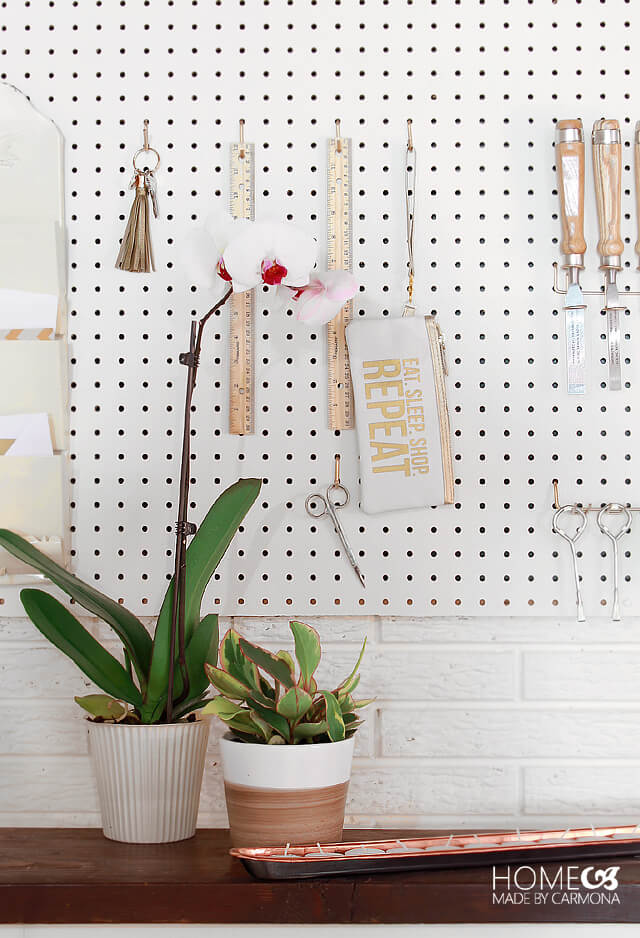 Craft room pegboard - basement remodel