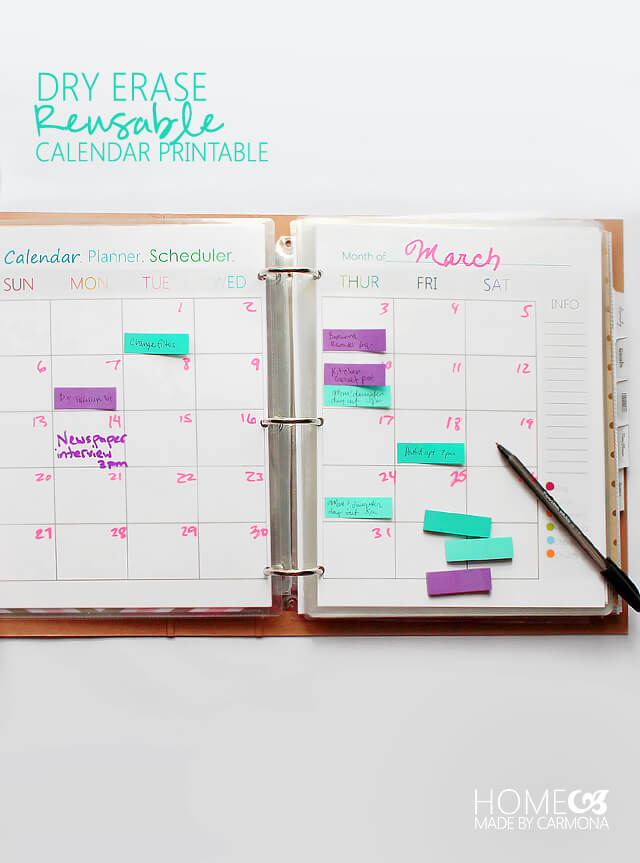 Dry Erase Calendar - Free Printabes