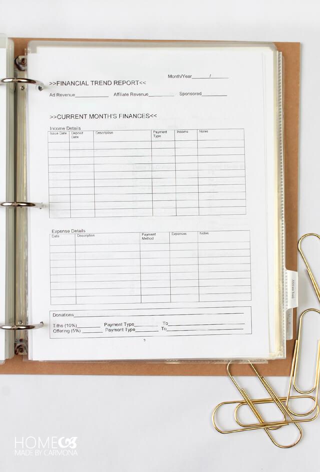 Management Binder - Monthly Report