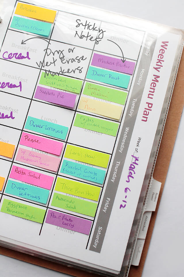 Menu Planner and idea section that uses sticky notes and markers