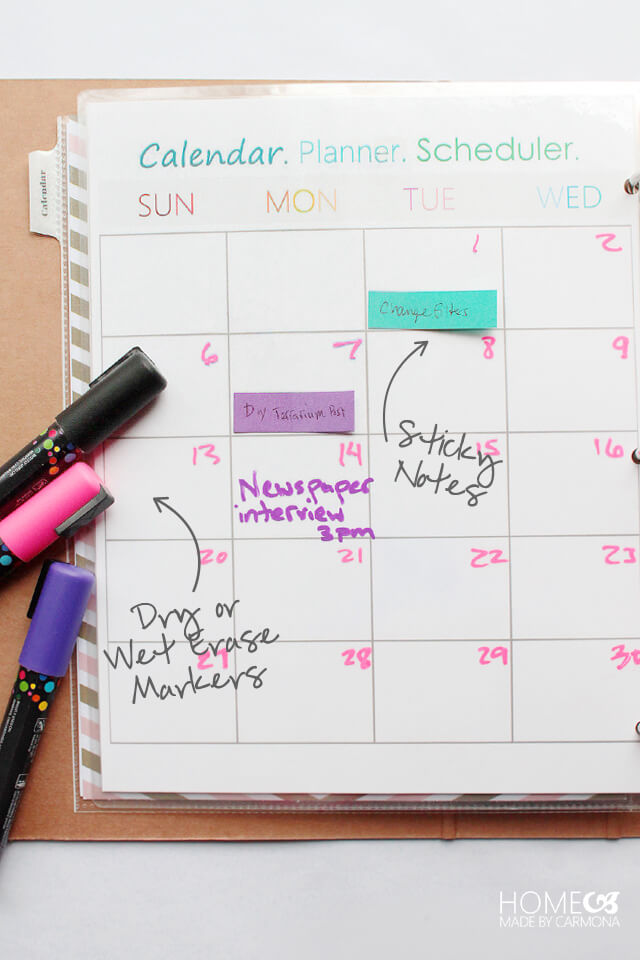 Reusable Calendar with Dry Erasers and Sticky Notes