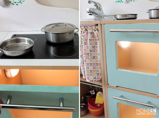 DIY Play kitchen - oven light