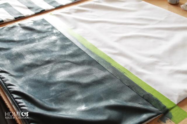 Dark navy painted DIY pillow case
