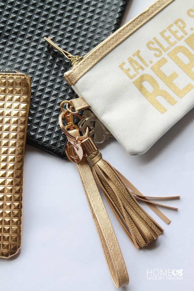 Gold key ring tassel