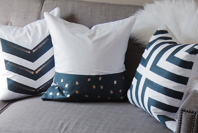 Navy Painted Pillows - featured image