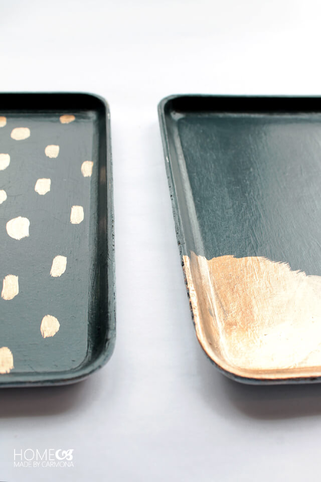 Gold leaf painted trays