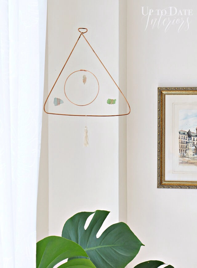 DIY Triangle Circle Mobile - made with copper and sea glass