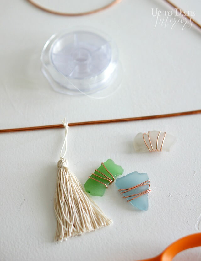 Hanging Art sea glass tassel