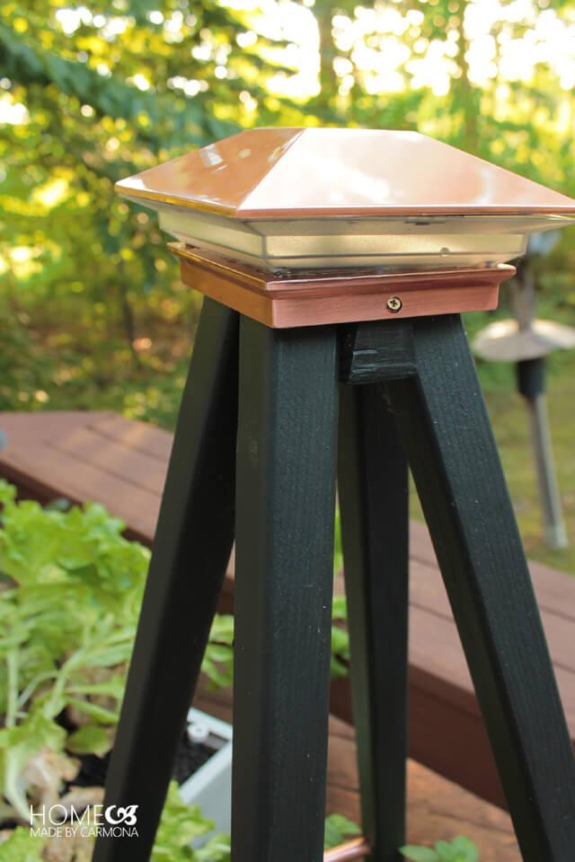 Copper solar trellis cap