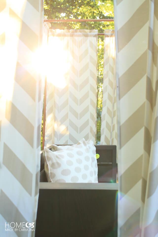 Sun peeking through the cabana canopy
