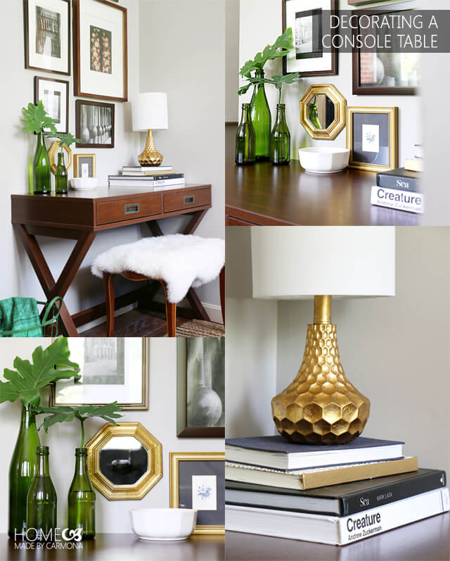 Decorating a Console Table the inexpenive but stylish way