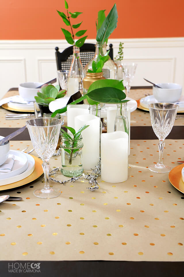 greenery filled tablescape