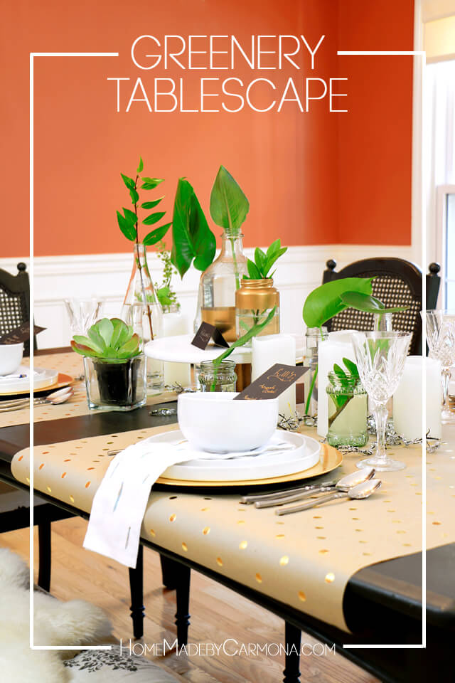 tablescape with plant cuttings