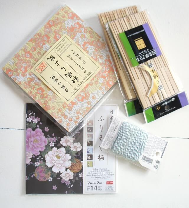 Japanese origami fan ornaments - supplies